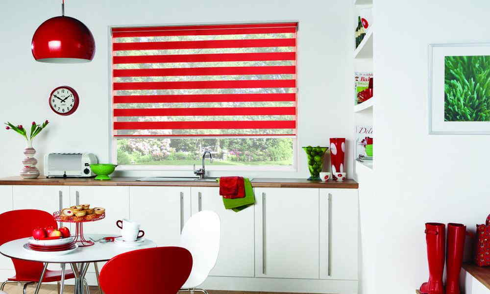 red Vision blinds in kitchen